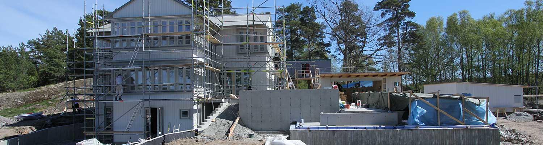 Bild på bygge av nytt hus